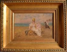 De Nittis, Donna sulla spiaggia [cornice].jpg