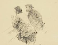 De Nittis, Due uomini poggiati sui gomiti che discutono.jpg