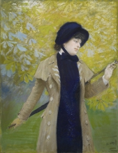 De Nittis, La signora con l'Ulster | La dame à l'Ulster | The lady with the hat