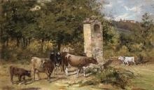 De Tivoli (attribuito a), Bovini al pascolo nel paesaggio.jpg