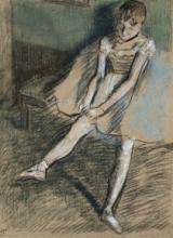 Degas, Ballerina che tira su la sua calza   Danseuse qui tire son bas   Dancer who pulls her stocking on