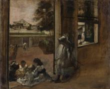 Degas, Cortile di una casa (New Orleans, schizzo) | Cour d'une maison (La Nouvelle-Orléans, croquis) | Courtyard of a house (New Orleans, sketch) | Gårdhave ved et hus. (New Orleans, skitse)