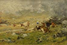 Lorenzo Delleani, Paesaggio montano con mucche al pascolo