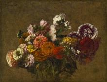 Fantin-Latour, Bouquet di fiori misti con zinnie e dalie in una ciotola.jpg