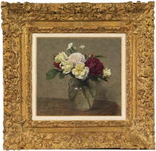 Fantin-Latour, Bouquet di rose variegate e garofani [cornice].jpg