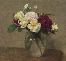 Fantin-Latour, Bouquet di rose variegate e garofani.jpg