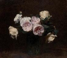 Henri Fantin-Latour, Natura morta, rose rosa, bianche e gialle | Still life: pink, white and yellow roses