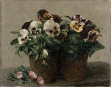 Henri Fantin-Latour, Natura morta, viole del pensiero e margherite | Still life: pansies and daisies