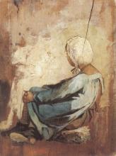 Fattori (attribuito a), Bambina di spalle con la cuffia bianca