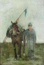 Fattori (attribuito a), Cavalleggero con un cavallo su un prato.jpg