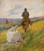 Fattori, Buttero a cavallo e mulo bianco.jpg