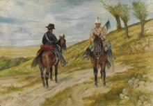 Fattori, Cavalleggero e carabiniere a cavallo.png