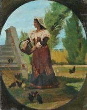 Fattori, Cortile rustico con contadina