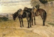 Fattori, Due cavalli sellati.jpg