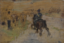 Fattori, Soldato a cavallo e sosta di cavalleria.jpg