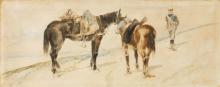Fattori, Soldato di artiglieria e due cavalli.png