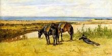 Fattori, Soldato e due cavalli in riva al mare.jpg