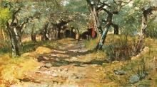 Fattori, Strada di campagna con ulivi