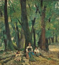 Fattori, Tre contadine sedute nel bosco all'ombra.png