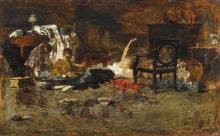 Giacomo Favretto, Donna sdraiata sul pavimento, circondata da bambini