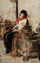 Giacomo Favretto, Venditrice di uccelli