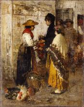 Giacomo Favretto, Villanella nel pollaio