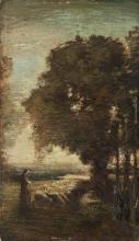 Antonio Fontanesi (attribuito a), Paesaggio con gregge