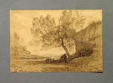 Antonio Fontanesi, Due contadine conversanti sotto un grande albero