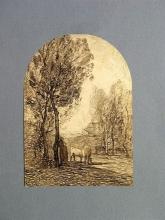 Fontanesi, Mucche al pascolo in una convalle fra alti pioppi. Pastorella appoggiata ad un albero