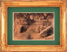 Fontanesi, Paesaggio animato con grotta