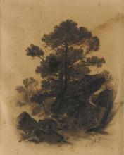 Fontanesi, Paesaggio con alberi e rocce