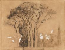 Fontanesi, Paesaggio con alberi in primo piano