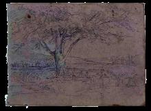 Fontanesi, Paesaggio con albero [recto]