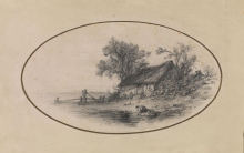 Fontanesi, Paesaggio con donna che lava al fiume