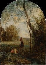 Fontanesi, Paesaggio con donne alla fonte