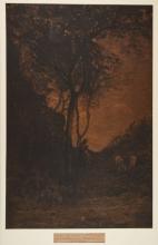 Fontanesi, Paesaggio con figura femminile sotto un albero