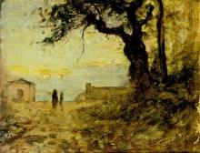 Fontanesi, Paesaggio con grande albero a destra