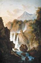 Fontanesi, Paesaggio roccioso con cascata e figure