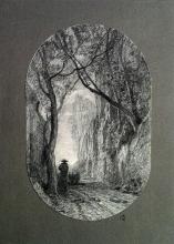 Fontanesi, Pastore con gregge che si allontana su una strada tra rocce alte e alberi