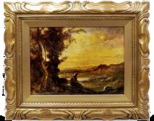 Fontanesi, Pastorella che sorveglia le sue pecore in un paesaggio al tramonto.png