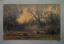 Fontanesi, Radura nel bosco e donna china su una sorgente