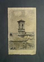 Fontanesi, Scorcio della rotonda dell'Accademia Albertina con campanile di San Francesco da Paola