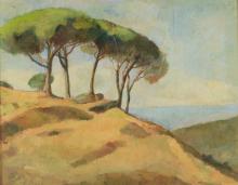 Achille Formis (attribuito a), Veduta costiera con pini
