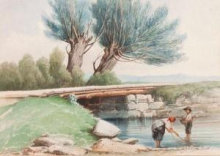 Achille Formis, Fanciulli che pescano presso un ruscello con ponte