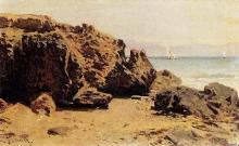 Achille Formis, Marina con scogli e barche