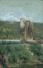 Achille Formis, Paesaggio con pozzo e pescatore