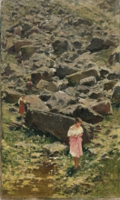 Formis, Paesaggio roccioso con giovani donne sulla riva di un ruscello