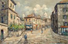 Achille Formis, Scena di strada acciottolata con figure