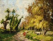 Carlo Fornara, Mucche su un sentiero   Cows on a path