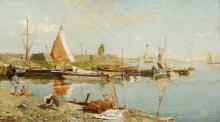 Fragiacomo,  Barche nella laguna